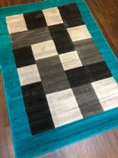 NEW MODERN BLOCK DESIGN RUGS TEAL 115X165CM 6FTX4FT APPROX GREAT QUALITY MATS
